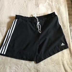 Adidas black athletic shorts white stripes SzL